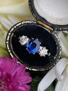 Victorian Sapphire and Diamond Three Stone / Trilogy Platinum Ring 0.85ct + 1.35