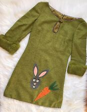 Moschino Cheap And Chic Wool Short Dress 3/4 Sleeve Fur Trim Bunny Carrot Sz 8