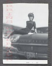 Vintage Car Photo Pretty Girl w/ 1958 Oldsmobile Olds Automobile 760997