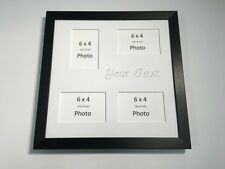 Personalised Photo Frame Black-Holds 4 x 6''X4'' Choose from 4 mounts / 3 Fonts