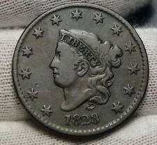 1828 Penny Coronet Large Cent - Nice Coin, Free Shipping  (6679)