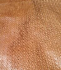 "NEW Faux Leather Naugahyde 2YD Vinyl Embossed Tooled fabric 54"" WOVEN UPHOLSTERY"