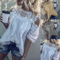 Women Hollow Lace Shirt Short Sleeve Cold Shoulder Tank Top Blouse Tunic