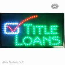 "Large 24x13"" Title Loans Payday Cash House Boat Real Estate Led Open Sign Light"