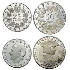 AUSTRIA Lotto di 2 monete da 25 e50 Schilling 1969 Argento Silver