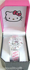 NEW-SANRIO HELLO KITTY CLEAR,PINK SILICONE BAND+CRYSTAL DIAL WATCH-HKAQ2797+BOX