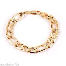 18K Yellow Gold Filled Figaro Chain Men's Bracelet (B-272)