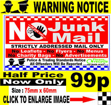 No Junk Mail Sign - (Rectangular) 85mm x 60mm  For Outdoor Use (SQ RED WINDOW))