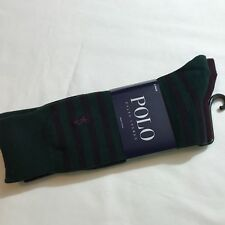 Polo Ralph Lauren Men Cotton Dress Socks Sz 10-13 Wine/Green Striped 2 Pairs New