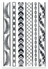 Fethers Chain Temporary Tattoos Silver Wire Fence Metallic New USA Seller