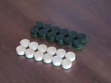 BRAND NEW HAND CRAFTED  GREEN WOODEN DRAUGHTS/CHECKERS SET OF 24