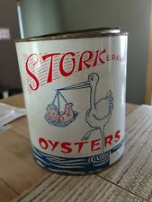 Vintage Stork Brand Oysters Tin Can H S Thompson & Co Grasonville MD