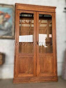 """1940s EUROPEAN SOLID OAK TWO GLASS DOOR BOOKSHELF /CABINET/ LP STORAGE. 80"""" H"""