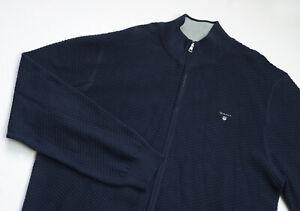 GANT Knitted Full Zip Sweater mens Jumper top size 4XL XXXXL navy blue