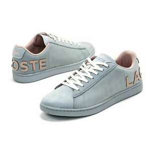 Womens Lacoste Shoes Carnaby EVO Light Blue Sneakers NEW