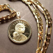 "SACAGAWEA PROOF COIN Pendant on a 24"" Gold Filled FIGARO CHAIN"