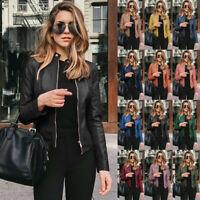 Womens PU Leather Jacket Zipper Biker Jacket Ladies Blazer Coat Tops Outwear