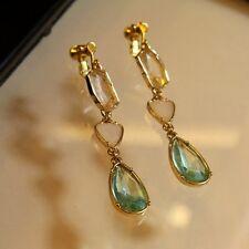 Boucles d'Oreilles Clips Longue Pendante Fine Verte Blanche Mariage Cadeau B2