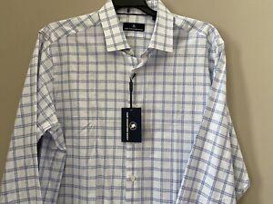 Hart Schaffner Marx Men's Long Sleeve Shirt Size XL New NWT Blue White Cotton