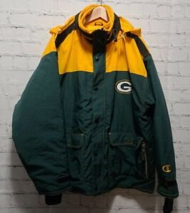 Vintage 90s Champion Green Bay Packers Puffer Jacket Double Layered Men X-Large