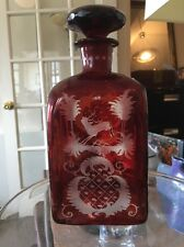 Antique Bohemian Ruby Glass Cut to Clear Decanter with Deer and Castle