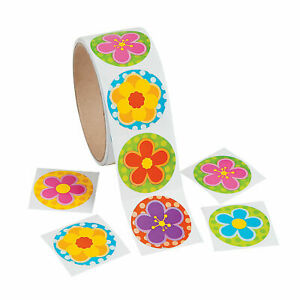 1 roll ~ Spring Flowers Stickers 100 count ~ Party favors~  Easter Spring Party
