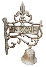 """Gusseisen Glocke Wandglocke Türglocke """"Welcome"""" im Landhausstil Nostalgie"""