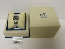 RARE WOMEN'S ESQ BY MOVADO LUXURY E5100 GREY DIAL DATE SWISS WATCH - PREOWNED