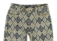 Womens ETRO Skinny Jeans Printed Denim Crop Pant Cotton Italy Size W30