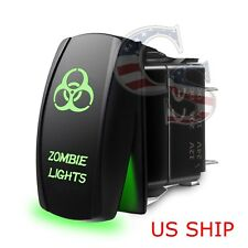 Green Laser Etched LED zombie 12V 20A 10A 5-pin Rocker Toggle Switch Car Boat