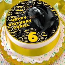 BATMAN PERSONALISED HAPPY BIRTHDAY 7.5 INCH EDIBLE CAKE TOPPER B-049G