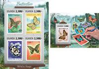 Butterflies Insects Schmetterlinge Insekten Stamps Fauna Uganda MNH stamp set