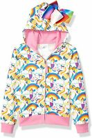 JoJo Siwa Girls' Little Unicorns & Rainbows All Over Print Zip Up Hoodie with...