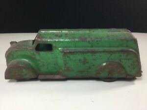 RARE GREEN PRESSED STEEL DELIVERY TOY TRUCK BUS 1930'S-40'S. MARX GAS TANK TRUCK