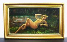 Nu de femme sur l'herbe huile sur panneau Paint Naked woman on the grass  23 cm