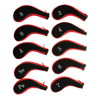 Set of 10 Neoprene Golf Club Head Cover Wedge Iron Sleeve Protector Case Red
