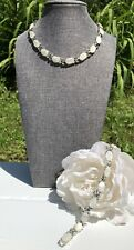 Vintage Coro Silver Tone Mother Of Pearl Necklace & Bracelet Set