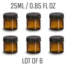Mini Amber Glass Jar - LOT OF 6 - 0.85 oz. / 25mL - Straight Sided Amber Jar
