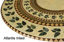 """Round 36"""" to 48"""" Elastic Edge Fitted Vinyl Table Cover Atlantis Brown Tan Green"""