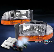 1997-2004 DODGE DAKOTA/1998-2003 DURANGO CHROME HEAD LIGHT+AMBER BUMPER W/8K HID