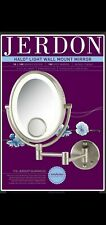 Jerdon Hl9515N 8-Inch Lighted Wall Mount Oval Makeup Mirror 10x and 15x