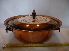 RARE Vtg. Copper Casserole Bowl Dish w Ceramic Atomic Burst Lid & Pyrex Bowl