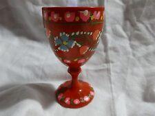 "Vintage HAND PAINTED Vibrant RED Flowered EGG CUP Wooden TURNED Pedestal 3 3/8"""