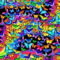 "FQ Timeless Treasures Bright Rainbow Butterflies Cotton Fabric 18""Lx21""W-BTFQ"
