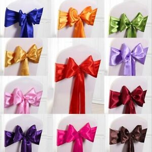 SATIN CHAIR COVER BOW SASH FOR VENUE DECOR 1, 25, 50 or 100 PACK - 24 COLOURS