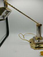 Vintage Brass Piano / Bankers Desk Adjustable Arm Lamp, w/Octogonal Shaped Base