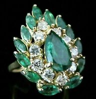 14k Yellow Gold Over 4.00 Ct Emerald & Diamond Vintage Cocktail Ring