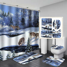 Forest Snow Wolf Shower Curtain Bath Mat Toilet Cover Rug Bathroom Decor
