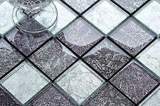 Klein Muster Glasmosaikfliesen Schwarz und Silber glänzend (MT0092 Muster)