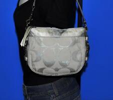 COACH Silver Metallic Jacquard Leather Mini Zoe Hobo Purse Shoulder Bag #42715
